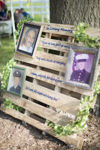 Vinyl Sign and Lettering on a Palette commemorating In Loving Memory Military Yard Decoration by Embroider It in Columbia MO
