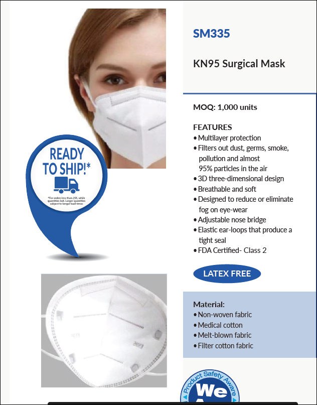 SM335 KN95 COVID-19 Surgical Mask Non-Woven Fabric Medical Cotton Melt-Blown Fabrics Filtered by Embroider it Columbia MO